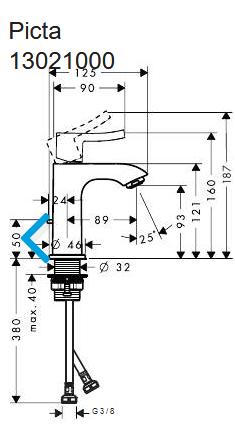 Hansgrohe PICTA Waschtischmischer 100 Ausl. 89 mm mit Ablaufgarnitur, chrom, 13021000