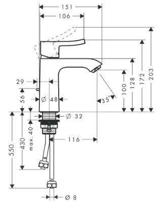 Hansgrohe PICTA Waschtischmischer 110 ND, Ausl. 116 mm mit Ablaufgarnitur, chrom, 13023000