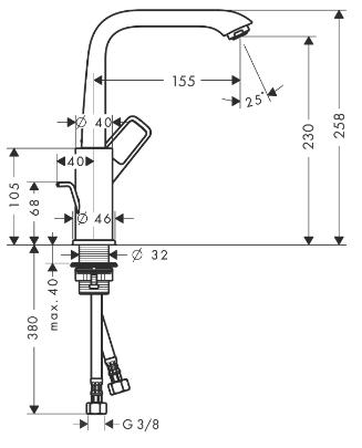 Hansgrohe PICTA Waschtischmischer 230 Ausl. 155 mm, Ablaufg. 120 ° schwenkbar, chrom, 13024000