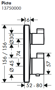 Hansgrohe PICTA Square UP-Thermostat-Fertigm.- Set für 1 Verbraucher, chrom, 13750000