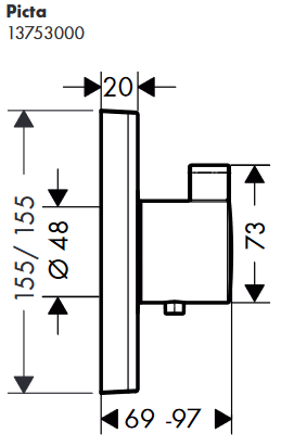 Hansgrohe PICTA Select UP-Thermostat-Fertigm.- Set Highflow, chrom, 13753000