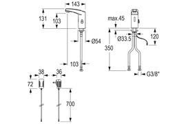 IQUA / Conti maxx Waschtischarmatur M10, Infrarot-Sensor, Batteriebetrieben