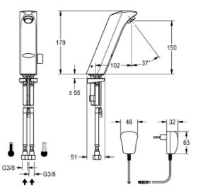 Franke-Protronic-S Waschtischarmatur mit Steckernetzteil mit Mischer