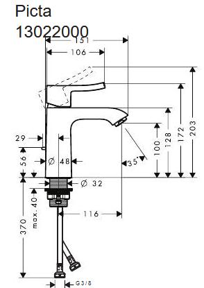 Hansgrohe PICTA Waschtischmischer 110 Ausl. 116 mm mit Ablaufgarnitur, chrom. 13022000