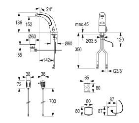 IQUA / Conti Waschtischarmatur A10, mit Infrarot-Sensor, Netzbetrieb, chrom
