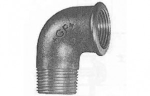 """Schwarzer Winkel 1"""", 90°, Nr. 92, I/A-Gewinde"""