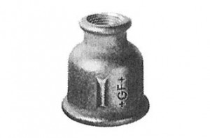 "Schwarze Red-Muffe 1 1/4"" x 1"", Nr. 240, I/I-Gewinde"