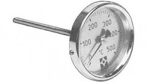 Rauchgasthermometer 100° - 500° C, d = 80 mm, Schaft 150 mm