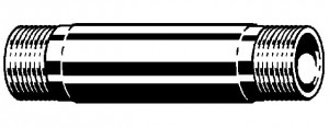 "Schwarzer Doppelnippel 1/2"" x 80 mm"