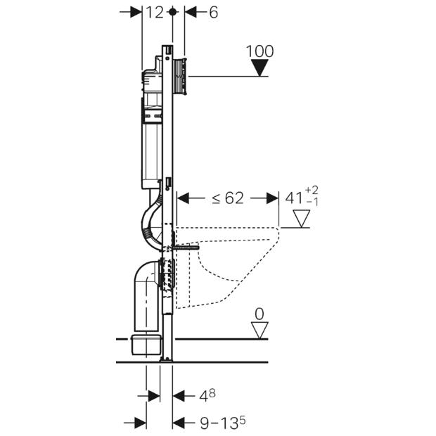 Geberit Duofix Element für Wand-WC, 112 cm, mit Sigma UP-Spülkasten 12 cm